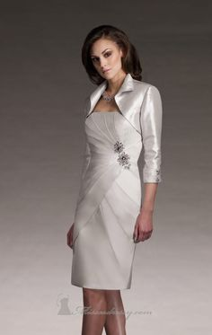 mother of the bride dress - bolero jacket with high collar