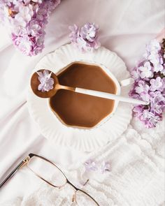 Lilac and coffee flatlay Coffee Flatlay, Chocolate Fondue, Lilac, Desserts, Instagram, Food, Tailgate Desserts, Deserts, Lilac Bushes