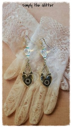 Assemblage earrings, crystal hearts with turquoise rhinestone rondelles, silver heart connectors, assemblage earrings- by Simply the Glitter by SimplyTheGlitter on Etsy