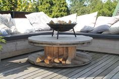 Wood Spool Furniture, Outdoor Furniture Sets, Outdoor Tables, Outdoor Decor, Lounge, Outdoor Living, Diy And Crafts, Pergola, Interior Design