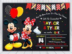 Mickey and Minnie Invitation Mickey and Minnie by Mimi Y Mickey, Mickey Party, Minnie Mouse Party, Mickey Minnie Mouse, Sibling Birthday Parties, Twins 1st Birthdays, Birthday Ideas, Mickey Mouse Birthday Decorations, Mickey Birthday