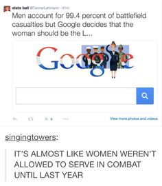 HOW DARE THEY INCLUDE WOMEN?! WE'RE ANGRY AT ONE WOMAN REPRESENTING THE WOMEN OF THE MILITARY, EVEN THOUGH THERE ARE WOMEN IN THE MILITARY. Why are sexists so ridiculous? Women had to fight their own country to be recognized as war heroes, but someone is angry they get even the slightest bit of recognition.
