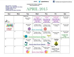 Here is the April story time calendar.