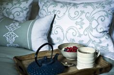 Designer Curtains, Cushions, Bedding, Fabric and Panels from EnglishHome  I love the breakfast in bed idea.