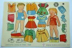 Recortable muñeca mariquita Bombón Renato y Arminda Editorial Bruguera 1959 16,5 cm x 12 cm