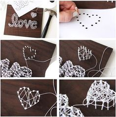 String Art Tips and Tricks - A Pretty Life In The Suburbs String Art Letters, Nail String Art, String Crafts, String Art Templates, String Art Tutorials, Crafts To Make, Arts And Crafts, Diy Crafts, Resin Crafts
