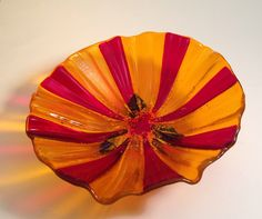 Footed fused glass flower bowl.