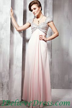 Chiffon Cap Sleeves Maternity Evening Gowns Full Length For Sale