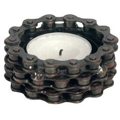 Bicycle Chain Tea Light Holder - One World Projects || #Handmade by artisans in India.  This innovative #recycled decor is perfect for the #IndustrialChic home. #Upcycled bike chain. Find more great products at @philorgs.