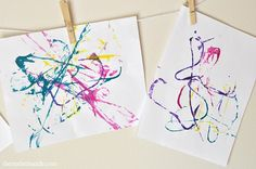 String Painting Kids Craft- tried it with 2/3s... eh, they liked it okay but it didn't keep their attention super long.