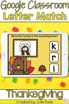 Your students will love this distance learning letter identification activity. It is themed for Thanksgiving and perfect for Kindergarten students focusing on the CCSS.RF.K.1d standard. Students will complete over 50 digital task cards focusing on identifying letters using Google Slides. This engaging activity is easy to use for remote learning or even as an independent literacy center. Holiday Activities For Kids, Thanksgiving Activities, Preschool Activities, Letter Identification Activities, Thanksgiving Letter, Kindergarten Blogs, Letter Matching, Teacher Organization, Learning Letters