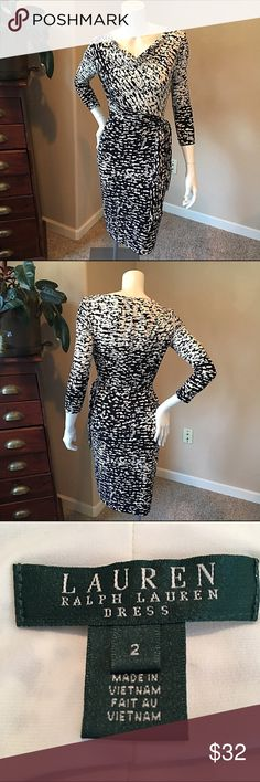 """Ralph Lauren SZ 2 beautiful black and white dress Ralph Lauren size 2 beautiful black and white dress super comfortable with just a bit of stretch. Detail rushing with a tie side. Bust 16"""", length 38"""", sleeve 18.5"""". 95% polyester 5% elastin. Ralph Lauren Dresses Midi"""