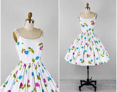 vintage 1950s dress / 60s dress / White Purple by RococoVintage, $224.00