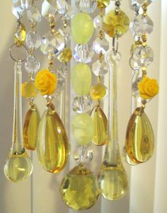 Chandelier Crystal Prism Wind Chime - Amber and Clear Crystal ...