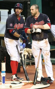Francisco Lindor and Jason Kipnis, the first batters in the Indians lineup, wait to bat in the 3rd inning against the Chicago Cubs on June 18, 2015 at Progressive Field.  (Chuck Crow/The Plain Dealer)