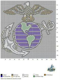 Marine Corp Cross Stitching, Cross Stitch Embroidery, Embroidery Patterns, Cross Stitch Patterns, Plastic Canvas Crafts, Plastic Canvas Patterns, Loom Patterns, Crochet Patterns, Pixel Pattern