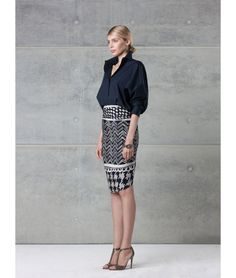 navy #style #whattowear Love the high collared blouse and patterned skirt