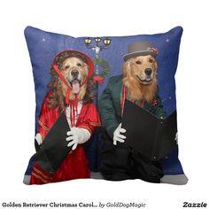 Golden Retriever Christmas Carolers Throw Pillow