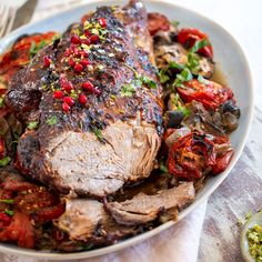 Studding the lamb with garlic and smearing with the harissa the day before helps to improve the flavour. This is well-cooked lamb that is tender with go Bang Bang Chicken, Lamb Dishes, Xmas Food, Lamb Recipes, Venison, Cooking Time, Meals, Dinners, Food And Drink