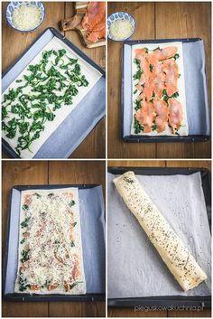 rolada z wędzonym łososiem i szpinakiem Easy Cooking, Cooking Recipes, Healthy Recipes, Easy Chicken Recipes, Fish Recipes, Food Platters, Savory Snacks, Food Design, Creative Food