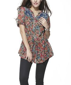 Another great find on #zulily! Blue & Red Floral Short-Sleeve Button-Up Tunic #zulilyfinds