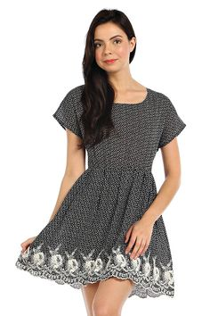 EMBROIDERED SCALLOP HEM ACCENT KNIT DRESS- Black