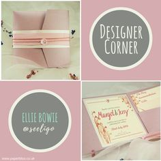 We asked the lovely Ellie Bowie to create a design using our misty rose square pocketfold & oyster shell belly band. Pocketfold Invitations, Wedding Invitations, Belly Bands, Design Your Own, Bowie, Shell, Luxury, Create, Day