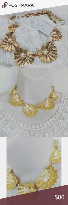 NWT KATE SPADE  CLAMSHELL NECKLACE Brand new Kate Spade clamshell necklace with tag Material: -  Shiny 12k gold with enamel coating Details: - Weight: 81.8g - 40 in chain length - Lobster claw closure - Comes with dust bag Kate Spade Jewelry Necklaces