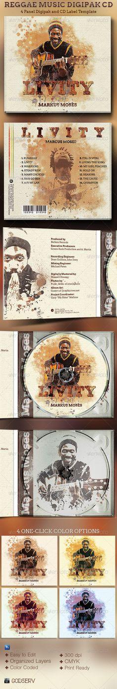 Reggae Music 4 Panel Digipak CD Artwork Template - CD & DVD Artwork Print Templates