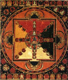 """Early Tibetan Mandala of Bhutadamara. The four-armed Bhutadamara, """"Turmoil of the Spirits,"""" appears at the center of this mandala. Clad in a tiger skin, the three-eyed god holds the mighty pose known as alidha, with his left knee bent, the right held taut. He holds the thunderbolt sceptre in his upper right hand, the noose in his left; his central hands offer the gesture of trailokyavijaya, """"conquest of the three worlds."""" The sky, earth, and ether..."""