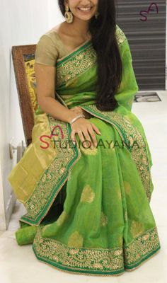 For tat smile Simple Sarees, Trendy Sarees, Fancy Sarees, Party Wear Sarees, Ethnic Outfits, Indian Outfits, Indian Beauty Saree, Indian Sarees, Jute