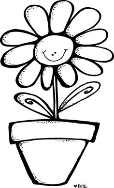 smiling flower in pot Cain Y Abel, Happy Flowers, Hanging Plants, Line Drawing, Clipart, Vintage Images, Trees To Plant, Coloring Pages, Art Drawings