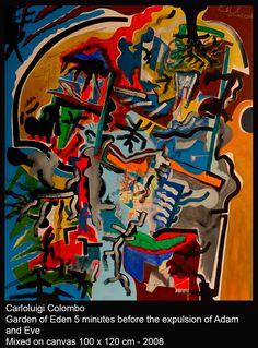 eden, Adam, Eve, Carloluigi Colombo, Riolo Terme, Faenza, art, painting, mixed, canvas,  italy, italian,