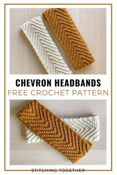 Keep your ears toasty with a free crochet pattern for this simple and classy crochet chevron headband. Keep it neutral or pick bold colors to add flair. Crochet Ear Warmer Pattern, Crochet Headband Pattern, Knitted Headband, Crochet Beanie, Crochet Simple, Crochet Diy, Crochet Crafts, Easy Crochet Projects, Chunky Crochet