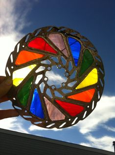 Upcycled Bike Part Art, Stained Glass Brake Rotor