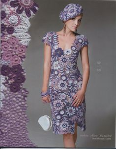 Crochet motif dress and hat ♥LCL-MRS♥ with diagrams