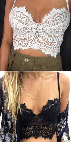 Women Sleeveless Strap Lace Pure Color Crop Tops