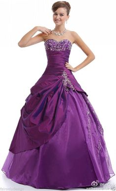 Faironly Purple Sweetheart Evening Formal Dress Prom Gown Size 6 8 10 12 14 16