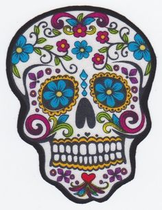 1 MEXICAN DAY OF THE DEAD SKULL HAND CUT IRON ON COTTON FABRIC APPLIQUE