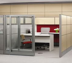 modern cubicle design -with sliding door! would be nice if it went up to the ceiling  Searching for Office Space in Noida ?  Visit http://www.commercial-office-space-for-rent-in-noida.co.in/