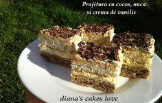 Prajitura cu cocos, nuca si crema de vanilie