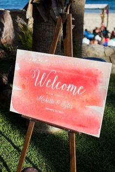 Los Cabos Wedding | Beach Wedding | Amy Abbott Events | Mexican Wedding | Beach Wedding Decoration | Destination Wedding | Photography: Ana&Jerome | Hot Pink Wedding Decoration | Wedding Inspiration | Tropical Wedding Centerpieces | Colorful Wedding | Wedding Welcome Sign | Watercolor Wedding Details