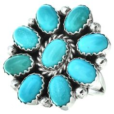 2 Post Free Outstanding Features unusual-estate Open-Minded Vintage Ring 1950s-1960s Turquoise Glass Flower