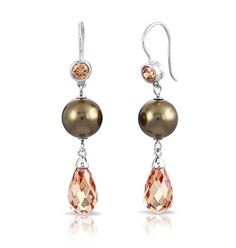 Belle Etoile Alexandria Collection; This sophisticated earring and necklace set showcases drops of rich champagne seashell pearls and champagne briolettes on exquisite rhodium-...