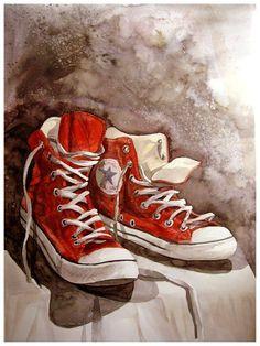 b66cefabbd51 Красные Конверсы, Изображение Обуви, Корзины, Красные Кроссовки, Декупаж,  Акварельные Картины,