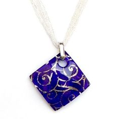 Murano Glass Pendant Cobalt Blue with Silver Foil and Multi-strand Necklace Zyger Imports. $41.99. Authentic Italian Murano Glass Pendant. Handmake Italian Glass Jewelry. Cobalt Blue. Multi-strand Necklace. Silver Swirl Detail