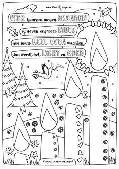 Vierde Advent, versje om te kleuren met vier kaarsen die mogen branden. Bijna kerst!