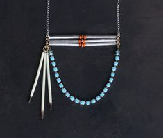 Cheyenne I - Porcupine Quill and Turquoise Rhinestone Urban Pioneer Necklace by Prarieoats