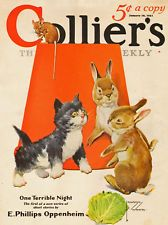 Kitten Chases Mouse Finds Bunny Rabbits - Lawson Wood - 1931 Collier's Cover