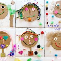 Explore texture with these adorable mixed media collage portraits for kids! Use cardboard as a base & create features with any collage materials on hand. Self Portrait Kids, Portraits For Kids, Collage Portrait, Cubist Portraits, School Portraits, Projects For Kids, Crafts For Kids, Arts And Crafts, Recycled Art Projects